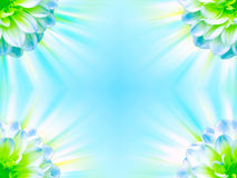 Bright Floral Frame. An illustration of a bright frame with a floral design in blue and green colors Royalty Free Stock Photos