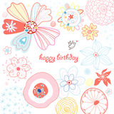 Bright Floral Greeting Card Royalty Free Stock Image