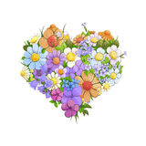 Bright floral heart Stock Image