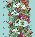 Bright floral ornamental in frieze of garden flowers Stock Photography