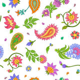 Bright floral paisley seamless vector pattern isolated on white background. Bright colorful floral paisley seamless vector pattern isolated on white background Royalty Free Stock Image