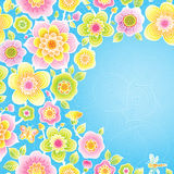 Bright floral pattern. Bright floral pattern  with butterfly and dragonfly on blue background. Place for your text. It can be used for decorating of wedding Royalty Free Stock Image