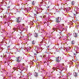Bright floral pattern - colorful orchid flowers. Seamless template. Aquarelle background. Stock Photography