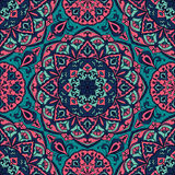 Bright floral pattern with mandalas. Stock Image