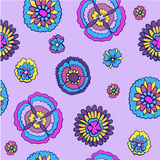 Bright floral pattern on a purple background Stock Photos
