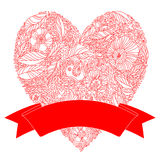 Bright floral romantic background. Love concept in vector. Heart made of flowers. Wedding and Valentine day Royalty Free Stock Photo