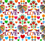 Bright floral romantic seamless pattern. Birds in love with hearts. Vector illustration, EPS10. Stock Photos
