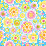 Bright floral seamless pattern. Bright floral seamless pattern with butterfly, dragonfly on blue background. It can be used for decorating of invitations, cards Royalty Free Stock Photo