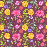Bright floral seamless pattern on dark brown-red background. vector illustration