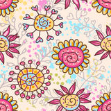 Bright floral seamless pattern Stock Photos