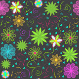 Bright  floral seamless pattern, and seamless patt Stock Photo