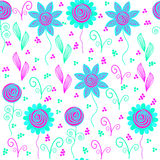 Bright floral seamless pattern, and seamless patte Stock Photo