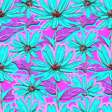 Bright floral seamless pattern, wallpaper chamomiles, Hand-drawn daisies, juicy background. Bright floral seamless pattern, wallpaper of chamomiles, Hand-drawn Stock Photos