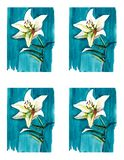 Bright floral seamless pattern of white lilies on blue background watercolor. Hand sketch Stock Images