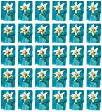 Bright floral seamless pattern of white lilies on blue background watercolor. Hand sketch Royalty Free Stock Images