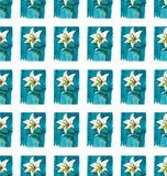 Bright floral seamless pattern of white lilies on blue background watercolor hand sketch Stock Photo