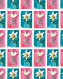 Bright floral seamless pattern of white lilies on blue and pink backgrounds watercolor. Hand illustration Royalty Free Stock Images