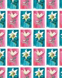 Bright floral seamless pattern of white lilies on blue and pink backgrounds watercolor hand sketch. Perfect for greeting cards, textile, wallpapers Stock Images