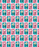 Bright floral seamless pattern of white lilies on blue and pink backgrounds watercolor hand sketch. Perfect for textile, wallpapers, and backgrounds stock illustration