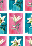 Bright floral seamless pattern of white lilies watercolor. Hand sketch Royalty Free Stock Images