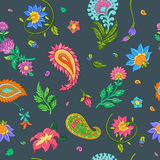 Bright floral seamless vector pattern with indian motives. Bright floral seamless vector pattern with indian motives and ornaments Stock Image
