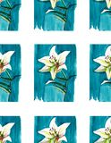 Bright floral spring pattern of white lilies on blue background watercolor. Hand sketch Stock Photos
