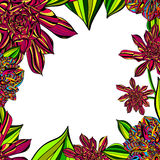 Bright Floral Tropical Frame Royalty Free Stock Images