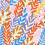 Bright floral tropical leaves on abstract colorful pattern. vector seamless background. Plant flower nature wallpaper vector illustration