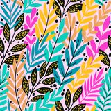 Bright floral tropical leaves on abstract colorful pattern. vector seamless background. Plant flower nature wallpaper stock illustration