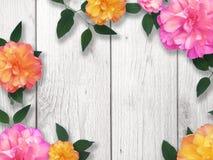 Bright Flower Border. Over whitewashed wood Stock Photos