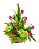 Bright flower bouquet in basket Royalty Free Stock Photo
