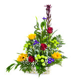 Bright flower bouquet in basket Stock Image