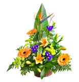 Bright flower bouquet in basket Royalty Free Stock Images