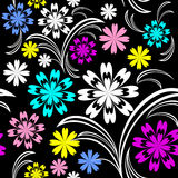Bright flower seamless pattern with colorful flowers on black. Royalty Free Stock Image