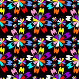 Bright flower seamless Pattern with colorful Flowers on black Stock Photos