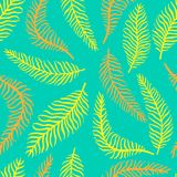 Bright flower seamless pattern with fern. Bright flower seamless pattern with yellow and orange fern Stock Image