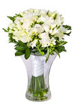 Bright flower wedding bouquet in glass vase Royalty Free Stock Images