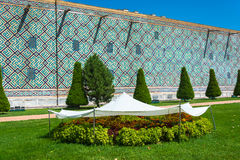 Bright flowerbeds sheltered from the scorching sun, Samarkand, U Stock Images