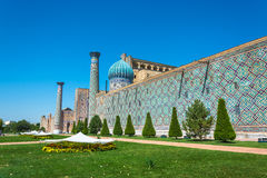 Bright flowerbeds sheltered from the scorching sun, Samarkand, U Royalty Free Stock Images