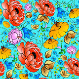 Bright flowers  on a blue background. Seamless pattern c Stock Photography