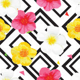 Bright Flowers Seamless Pattern with Geometric Ornament. Black Stripes. Vector Illustration Stock Images