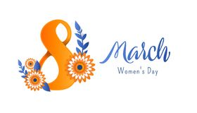 8 march Happy. Women`s Day. Bright flyer for March 8 with the decor of paper cut flowers Royalty Free Stock Photography
