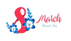 8 march Happy. Women`s Day. Bright flyer for March 8 with the decor of paper cut flowers stock illustration