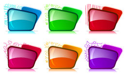 Bright folders with different color and themes Royalty Free Stock Photos