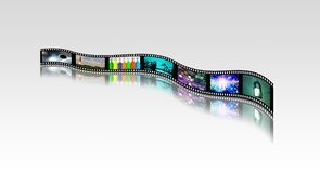 Bright Footage. Film strip of surreal and abstract footage. 3D rendering Royalty Free Stock Photos
