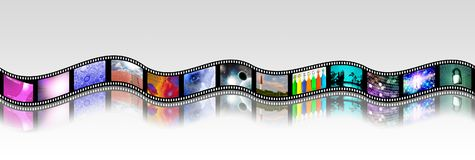Bright Footage. Film strip of surreal and abstract footage. 3D rendering Stock Images