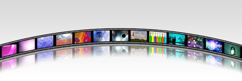Bright Footage. Film strip of surreal and abstract footage. 3D rendering Stock Image
