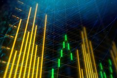 Bright forex chart texture. Analysis, statistics and finance concept. Bright glowing forex chart texture. 3D Rendering Stock Photography