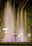 Bright fountain at night. Spotlit bright fountain at night in Odessa Stock Images