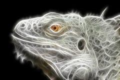 Bright fractal image of an iguana lizard stock illustration